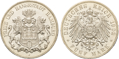 Los 2050: Hamburg. 5 Mark 1902 J. PP. Schätzpreis: 700 EUR.