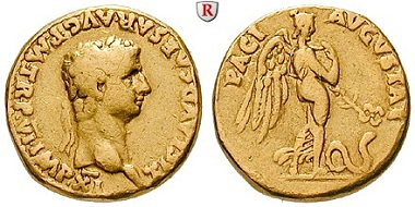Römische Kaiserzeit. Claudius I., Aureus 43-44, ss+. 6.500 EUR.