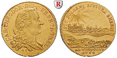 Altdeutschland. Pfalz, Kurpfalz. Karl Theodor. Dukat 1764, f.vz. 3.500 EUR.