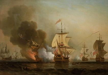 Die Explosion der San José, dargestellt auf einem undatierten Ölgemälde von Samuel Scott (1702-1772).