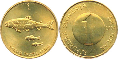 1 tolar from the first money emission of Slovenia, year of issue 2004. Photo: Armin Michael Kohlross / MA-Shops.