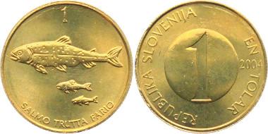 1 Tolar aus der ersten Münzemission Sloweniens, Prägejahr 2004. Foto: Armin Michael Kohlross / MA-Shops.