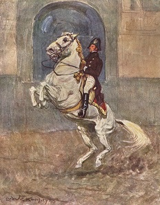 Classical dressage with Lippizaner horses. Oil painting by Ludwig Koch.