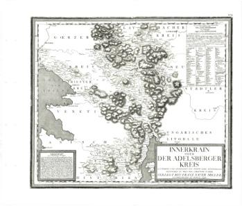 Historic map of the Carniola, as Slovenia was called when it was still part of the Habsburg monarchy. From Josef Karl Kindermann, Christoph Junker (Stecher), Gerhard Michael Dienes - Atlas von Inneroesterreich.