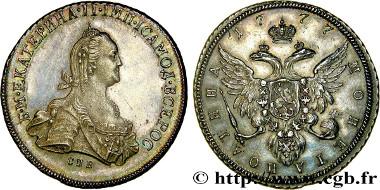 Los 410334: Russland. Katharina II. Poltina Novodel 1777, Sankt Petersburg. fST. Schätzpreis: 10.000 EUR.