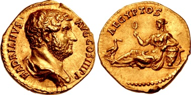 Lot 734: Hadrian, 117-138. Aureus, 134-138, Rome mint. From the Continental Collection. EF. Estimate: 75,000 USD.