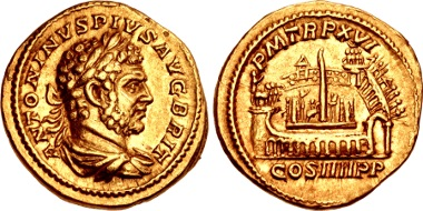 Lot 800: Caracalla, 198-217. Aureus, AD 213, Rome mint. Near EF. Estimate: 75,000 USD.