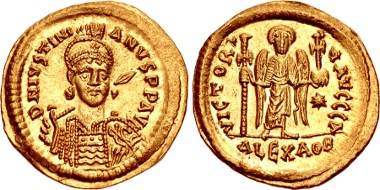 Lot 1043: Justinian I., 527-565. Solidus, circa 527-538, Alexandria. Unpublished in the standard references. Possibly only the sixth known. From the Goldman Collection. Superb EF. Estimate: 50,000 USD.