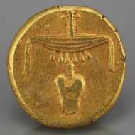 Gold-Stater, Nektanebos II. Spätzeit, 360-343 v. Chr. Foto: © Fondation Gandur pour l'Art, Genève, Suisse; André Longchamp.