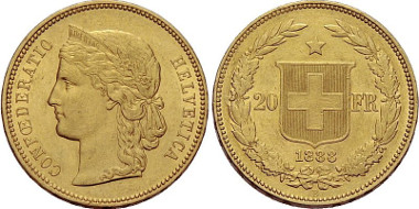 20 francs 1888. From the auction Sincona 1 (2011), 2069.