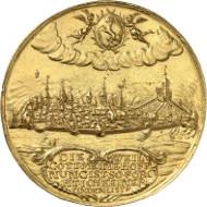 Los 135: Schweiz. Schaffhausen. Goldmedaille zu 20 Dukaten o. J. (2. Hälfte 17. Jh), unsigniert. Vorzüglich. Taxe: 50.000,- Euro.