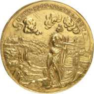 Lot 135: Switzerland. Schaffhausen. Gold medal of 20 ducats no date (2nd half of 17th cent.), unsigned. Extremely fine. Estimate: 50,000 euros.