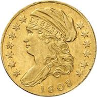 Lot 196: USA. 1 1/2 dollars 1808, Philadelphia. Extremely fine. Estimate: 60,000 euros.