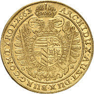 Lot 246: Holy Roman Empire. Leopold I, 1657-1705. 10 ducats 1663, Breslau. Almost extremely fine. Estimate: 100,000 euros.