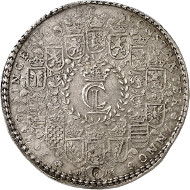 Lot 360: Brunswick-Lüneburg. Christian Ludwig, 1648-1665. Löser of 8 reichstalers 1654, Clausthal. Welter 1481. Very fine to extremely fine. Estimate: 100,000 euros.