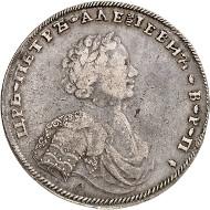 Los 603: Russland. Peter I., 1682-1725. Rubel 1707, Moskau, Münzhof Kadashevsky. Bitkin 186. Aus Slg. Hutten-Czapski (mit Sammlerpunze). Gutes sehr schön. Taxe: 250.000 Euro.