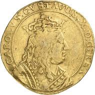 Los 1034: Schwedische Besitzungen. Elbing. Karl X., 1654-1660. 10 Dukaten 1658. Ahlström 41. Aus Slg. Ottar Ertzeid. Fast sehr schön. Taxe: 25.000 Euro.
