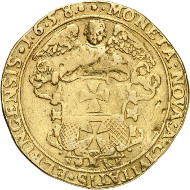 Lot 1034: Swedish territories. Elbing. Charles X, 1654-1660. 10 ducats 1658. Ahlström 41. Ex Ottar Ertzeid Collection. Almost very fine. Estimate: 25,000 euros.
