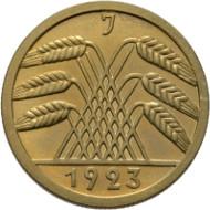Los 2383: Deutsche Münzen. 50 Rentenpfennig 1923 J. J. 310. Aus Slg. Toni Barth. Polierte Platte. Taxe: 2.000,- Euro.