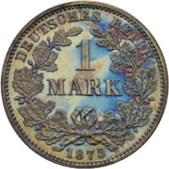 Los 2052: Deutsche Münzen. 1 Mark 1875 J. J. 9. Aus Slg. Toni Barth. Polierte Platte, minimal berührt. Taxe: 400 Euro.