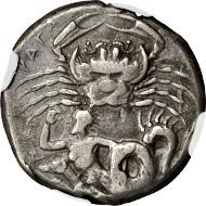 Lot 2008: Sicily. Akragas. Tetradrachm, ca. 420-410 B.C. NGC Ch. VF. Estimate: 20,000-25,000 USD.