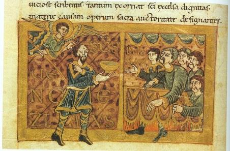 Wenzel beim Mahl mit Gästen, ihm gegenüber sein Bruder und Mörder Boleslav. Wolfenbüttel, Herzog August Bibliothek, Guelf. 11,2 Augusteus 4, fol. 20v.