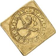 Rudolf II. Doppelte Dukatenklippe 1587. Goldabschlag von den Stempeln der Maley Groschen-Klippe. Künker 285 (2016), 221. Schätzung: 15.000 Euro.