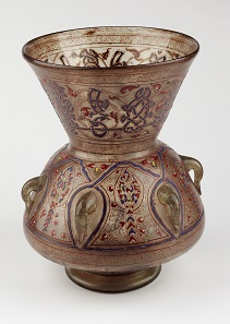 Mosque Lamp of Sultan Barquq. Egypt or Syria, 1382-99. Glass with gold and enamel. 133/4 °- 101/2 in. (34.7 °- 26.8 cm). Victoria and Albert Museum, London (321-1900). Image: © Victoria and Albert Museum, London.