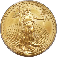 Lot 6174: 2014 50 USD One-Ounce Gold Eagle. Struck On a .9999 Fine One-Ounce American Buffalo Planchet. MS69 PCGS.