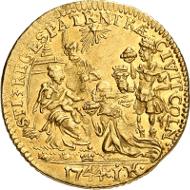 Los 1329: Altdeutsche Länder. Köln, Erzbistum. Clemens August von Bayern, 1723-1761. Dukat 1744. ss-vz. Schätzpreis: 2.500 EUR.