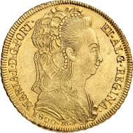 Los 2007: Brasilien. Maria I., 1786-1805. 6400 Reis 1800 R, Rio de Janeiro. vz-St. Schätzpreis: 750 EUR.