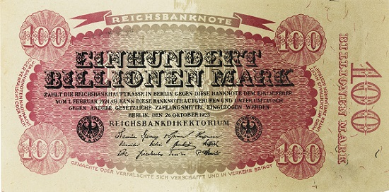 Wertloses Geld: Reichsbanknote über 100 Billionen Mark, 26. Oktober 1923 [Papier, einseitig - H 8,5 cm, B 17,3 cm]. © LWL-Museum für Kunst und Kultur / Westfälisches Landesmuseum, Münster. Foto: Sabine Ahlbrand-Dornseif.