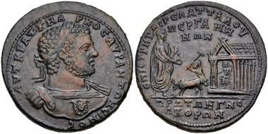 Lot 445: Mysia, Pergamum. Caracalla, 198-217. Medallion (Caerelius Attalus, strategos) AD 214. Estimate: 5,000 USD.