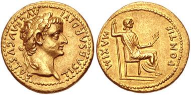 Lot 583: Tiberius, 14-37. Aureus, Lugdunum (Lyon) mint. Group 1, 15-18. Near EF. Estimate: 5,000 USD.