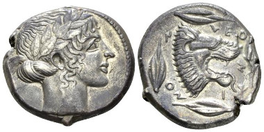 Lot 55: Sicily, Leontini. Tetradrachm, circa 440-430. About Extremely Fine/Extremely Fine. Starting Bid: 1,500 GBP.