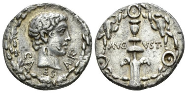 Lot 523: Octavian as Augustus, 27 BC-14 AD. Denarius, circa 17 BC. Good Very Fine/About Extremely Fine. Starting Bid: 400 GBP.