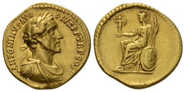 Lot 603: Antoninus Pius, 138-161. Aureus, circa 147. Good Very Fine. Starting Bid: 1,400 GBP.