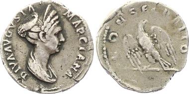 A89: Ulpia Marciana (Schwester des Traianus), gest. 112. Rom. Denar 112. Kleiner Randausbruch, sehr schön. 975 Euro.