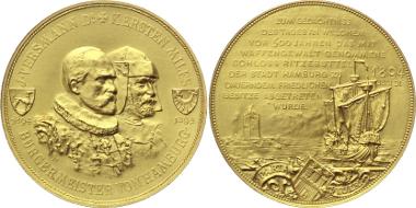 G25: Hamburg. Stadt. Gold-Medaille 1894 a.d. 500j. Anschluss von Ritzebüttel. 42 mm; 36,5 g. Feiner Kratzer, vorzüglich-Stempelglanz 2.250 Euro.