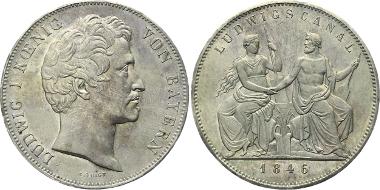 106: Bayern. Königreich. Ludwig I., 1825-1848. München. Geschichtsdoppeltaler 1846 auf die Einweihung des Ludwigskanals. Vorzüglich-Stempelglanz. 750 Euro.