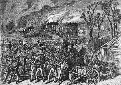 Britische Truppen brennen Washington nieder. Holzstich 1876.