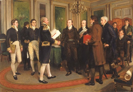 The Signing of the Treaty of Ghent. Oil painting by Amédée Forestier. Smithsonian American Art Museum.