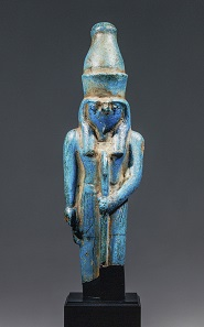 Fayencefigur Ramses II. als Falkengott, Antikenmuseum und Sammlung Ludwig, Basel. Foto: © Basel, Antikenmuseum, Rudolf Habegger.