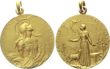 Arc19: Religion. Hl. Jeanne d'Arc. Tragbare Gold-Medaille o.J. (nach 1880, von Oscar Roty). 28 mm; 14,3 g. Vorzüglich. 1.600 Euro.