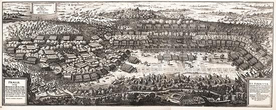Zeitgenössische Darstellung der Schlacht von Breitenfeld.