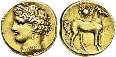 1857: Zeugitania. Karthago. Elektron-1 1/2 Stater. 255-241 v. Chr. Taxe: 7.500,- EUR.