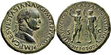 1925: Römisches Kaiserreich. Vespasianus. 69-79 n. Chr. Sesterz. Taxe: 6.000 EUR.