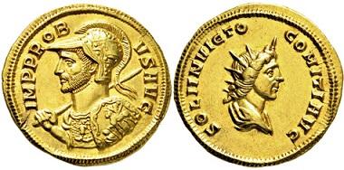 2157: Römisches Kaiserreich. Probus. 276-282 n. Chr. Aureus. Taxe: 15.000 Euro.
