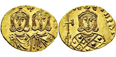 2208: Byzantinische Münzen. Constantinus V. und Leo IV. 751-775 n. Chr. Solidus. Taxe: 2.500 Euro.