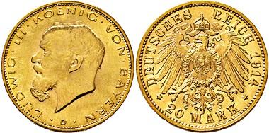 3033: Königreich Bayern. Ludwig III. 20 Mark 1914 D. Taxe: 5.000 Euro.